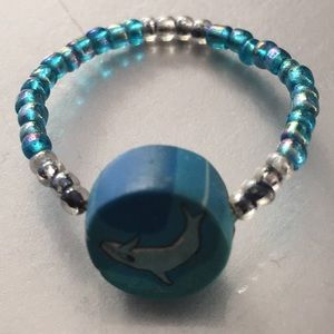 Vintage dolphin Fimo clay bead ring